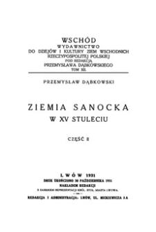 Ziemia sanocka w XV stuleciu. Cz. 2