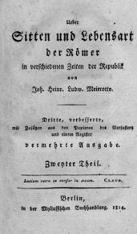Ueber Sitten und Lebensart der Römer, in verschiednen Zeiten der Republik. T. 2