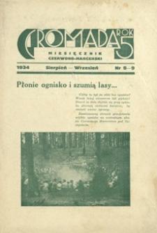 Gromada : miesięcznik czerwono - harcerski. 1934, R. 5, nr 8-9 (sierpień-wrzesień)