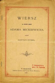 Wiersz na uczczenie pamięci Adama Mickiewicza