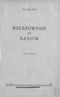 Rzeszowskie za Sasów : szkic historyczny