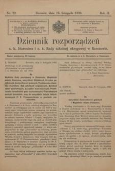 Dziennik rozporządzeń c. k. Starostwa i c. k. Rady szkolnej okręgowej w Rzeszowie. 1910, R. 2, nr 22