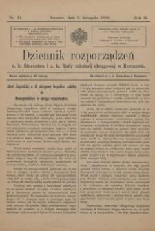 Dziennik rozporządzeń c. k. Starostwa i c. k. Rady szkolnej okręgowej w Rzeszowie. 1910, R. 2, nr 21