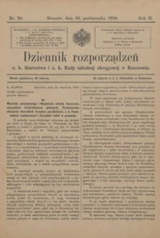 Dziennik rozporządzeń c. k. Starostwa i c. k. Rady szkolnej okręgowej w Rzeszowie. 1910, R. 2, nr 20