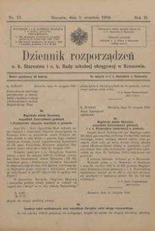 Dziennik rozporządzeń c. k. Starostwa i c. k. Rady szkolnej okręgowej w Rzeszowie. 1910, R. 2, nr 17