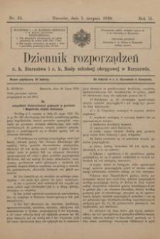 Dziennik rozporządzeń c. k. Starostwa i c. k. Rady szkolnej okręgowej w Rzeszowie. 1910, R. 2, nr 15