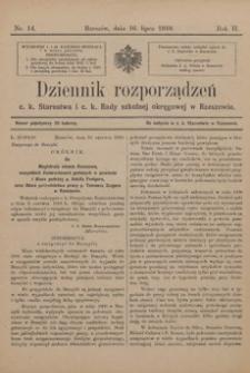 Dziennik rozporządzeń c. k. Starostwa i c. k. Rady szkolnej okręgowej w Rzeszowie. 1910, R. 2, nr 14