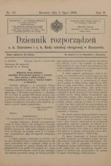 Dziennik rozporządzeń c. k. Starostwa i c. k. Rady szkolnej okręgowej w Rzeszowie. 1910, R. 2, nr 13