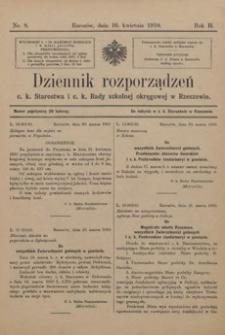 Dziennik rozporządzeń c. k. Starostwa i c. k. Rady szkolnej okręgowej w Rzeszowie. 1910, R. 2, nr 8