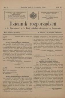 Dziennik rozporządzeń c. k. Starostwa i c. k. Rady szkolnej okręgowej w Rzeszowie. 1910, R. 2, nr 7