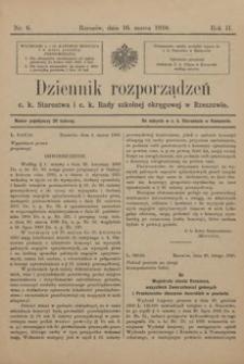 Dziennik rozporządzeń c. k. Starostwa i c. k. Rady szkolnej okręgowej w Rzeszowie. 1910, R. 2, nr 6