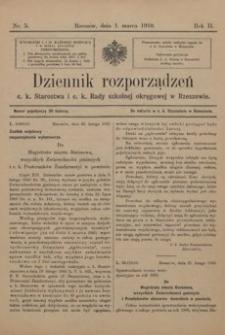 Dziennik rozporządzeń c. k. Starostwa i c. k. Rady szkolnej okręgowej w Rzeszowie. 1910, R. 2, nr 5
