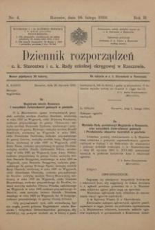 Dziennik rozporządzeń c. k. Starostwa i c. k. Rady szkolnej okręgowej w Rzeszowie. 1910, R. 2, nr 4