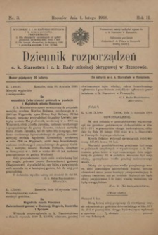 Dziennik rozporządzeń c. k. Starostwa i c. k. Rady szkolnej okręgowej w Rzeszowie. 1910, R. 2, nr 3