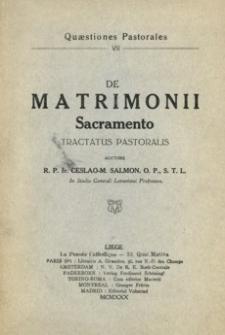 De Matrimonii Sacramento : tractatus pastoralis