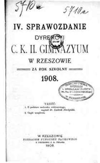 Sprawozdanie Dyrekcyi C. K. II Gimnazyum w Rzeszowie za rok szkolny 1908