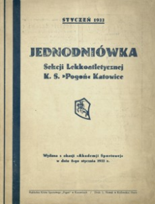 """Jednodniówka Sekcji Lekkoatletycznej K. S. """"Pogoń"""" Katowice"""