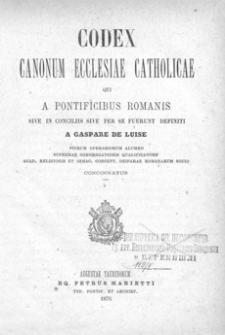 Codex Canonum Ecclesiae Catholicae : qui a pontificibus Romanis sive in conciliis sive per se fuerunt definiti