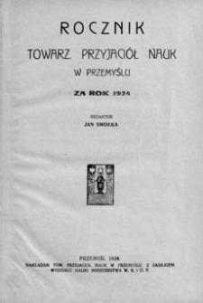 Rocznik Towarzystwa Przyjaciół Nauk w Przemyślu za rok 1924. T. 5