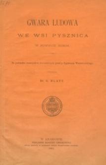 Gwara ludowa we wsi Pysznica w powiecie niskim