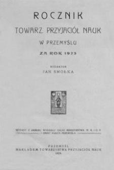 Rocznik Towarzystwa Przyjaciół Nauk w Przemyślu za rok 1923. T. 4