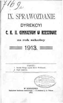 Sprawozdanie Dyrekcyi C. K. II Gimnazyum w Rzeszowie za rok szkolny 1913