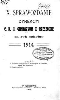Sprawozdanie Dyrekcyi C. K. II Gimnazyum w Rzeszowie za rok szkolny 1914