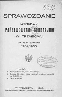 Sprawozdanie Dyrekcji Państwowego Gimnazjum w Trembowli za rok szkolny 1934/35