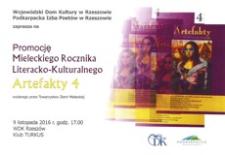 Promocja Mieleckiego Rocznika Literacko-Kulturalnego Artefakty 4 wydanego przez Towarzystwo Ziemi Mieleckiej [Plakat]