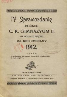 Sprawozdanie Dyrekcyi C. K. Gimnazyum II w Nowym Sączu za rok szkolny 1912
