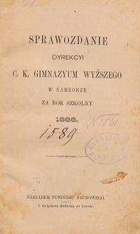 Sprawozdanie C. K. Wyższego Gimnazyum w Samborze za rok szkolny 1888