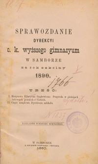 Sprawozdanie C. K. Wyższego Gimnazyum w Samborze za rok szkolny 1890