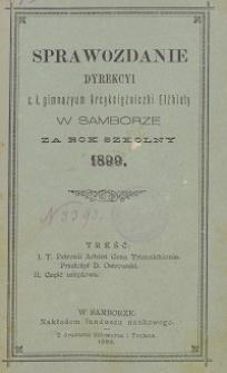 Sprawozdanie Dyrekcji C. K. Gimnazyum Arcyksiężniczki Elżbiety w Samborze za rok szkolny 1899