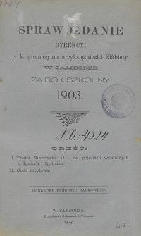 Sprawozdanie Dyrekcji C. K. Gimnazyum Arcyksiężniczki Elżbiety w Samborze za rok szkolny 1903