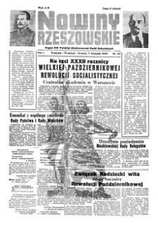 Nowiny Rzeszowskie : organ KW Polskiej Zjednoczonej Partii Robotniczej. 1949, R. 1, nr 54 (7 listopada)