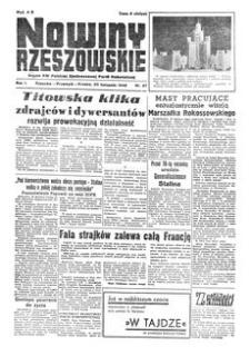 Nowiny Rzeszowskie : organ KW Polskiej Zjednoczonej Partii Robotniczej. 1949, R. 1, nr 67 (20 listopada)