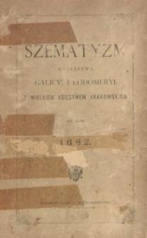 Szematyzm Królestwa Galicyi i Lodomeryi z Wielkiem Księstwem Krakowskiem na rok 1882