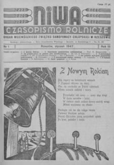 Niwa : czasopismo rolnicze : organ Wojewódzkiego Związku Samopomocy Chłopskiej w Rzeszowie. 1947, R. 3, nr 1-3