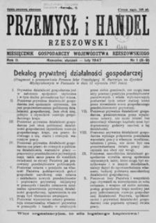 Przemysł i Handel Rzeszowski : miesięcznik gospodarczy województwa rzeszowskiego. 1947, R. 2, nr 1-4