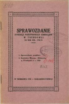 Sprawozdanie Dyrekcji Państwowego Gimnazjum w Trembowli za rok szkolny 1930/31