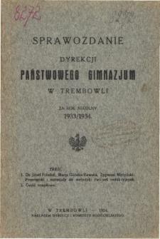 Sprawozdanie Dyrekcji Państwowego Gimnazjum w Trembowli za rok szkolny 1933/34