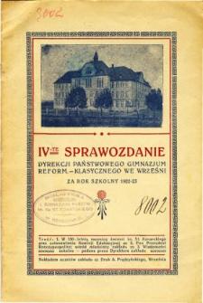 Sprawozdanie Dyrekcji Państwowego Gimnazjum Reformowanego Klasycznego we Wrześni za rok szkolny 1921/22