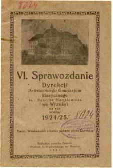 Sprawozdanie Dyrekcji Państwowego Gimnazjum Klasycznego im. Henryka Sienkiewicza we Wrześni za rok szkolny 1924/25