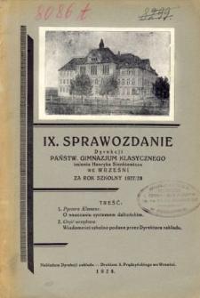 Sprawozdanie Dyrekcji Państwowego Gimnazjum Klasycznego im. Henryka Sienkiewicza we Wrześni za rok szkolny 1926/27