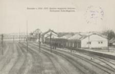 Rzeszów r. 1914-1915. Spalone magazyny kolejowe = Verbrannte Bahn-Magazine [Pocztówka]