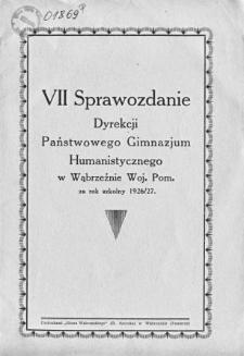 Sprawozdanie Dyrekcji Państwowego Gimnazjum Humanistycznego w Wąbrzeźnie za rok szkolny 1926/27