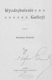 Wyodrębnienie Galicyi
