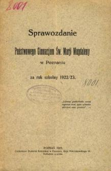 Sprawozdanie Państwowego Gimnazjum Św. Marji Magdaleny w Poznaniu za rok szkolny 1922/23