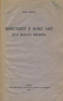 Dokument z roku 1467 dla miasta Krosna
