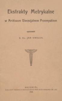Ekstrakty metrykalne w Archiwum Diecezjalnem Przemyskiem